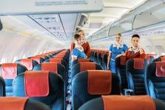Ukraine, Borispol - MAY 22 : Flight attendants in the cabin on May 22, 2015 in Borispol, Ukraine Stock Photography