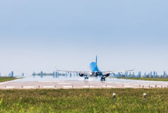 Ukraine, Borispol - MAY 22 : The plane is landing at the international airport Borispol on May 22, 2015 in Borispol, Ukraine Stock Photography