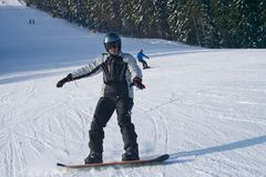 Ukraine. Bukovel. January 30, 2012. skier skiing in the winter s royalty free stock photo