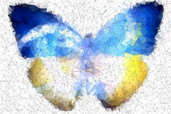 Ukraine butterfly abstract geometric background stained-glass Stock Photo