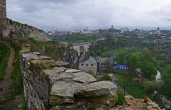 Ukraine, Kamyanets-Podilsky fortress in the rain on May 2, 2015 stock photo