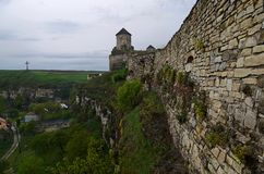 Ukraine, Kamyanets-Podilsky fortress in the rain on May 2, 2015 stock photography