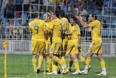 Ukraine celebrate a goal Stock Photos
