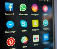 Modern communication social applications stock photo