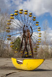 UKRAINE. Chernobyl Exclusion Zone. - 2016.03.19. Abandoned amusement park in the Pripyat city royalty free stock photography