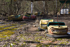UKRAINE. Chernobyl Exclusion Zone. - 2016.03.19. Abandoned amusement park in the Pripyat city royalty free stock photo
