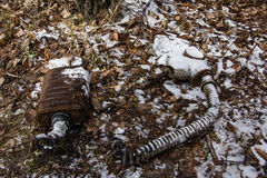UKRAINE. Chernobyl Exclusion Zone. - 2016.03.19. Infected radiation masks. Stock Photos