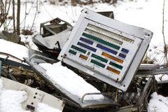 UKRAINE. Chernobyl Exclusion Zone. - 2016.03.20. Old metal parts at the abandonet soviet military base Royalty Free Stock Photo