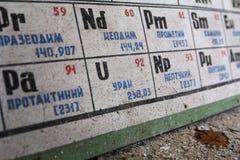 UKRAINE. Chernobyl Exclusion Zone. - 2016.03.20. Periodic table in abandoned school. Uranium on soviet Periodic table in abandoned school Stock Photo