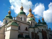 Ukraine  Church.  The Sophia Cathedral. Church.  The Sophia Cathedral in the autumn on background blue sky with clouds.  Ukraine , Kiev Royalty Free Stock Images