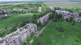 Ukraine, the city of Peschanka, 09 18 16. ATO, war, destroyed homes stock video footage