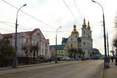 Ukraine,The city of Vinnitsa, Cathedral street. The city of Vinnitsa, Cathedral street. Left on pictures of the building of the archive. This is followed by the Royalty Free Stock Photos