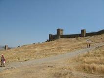 ukraine crimea Genoese fästning i Sudak Royaltyfria Foton