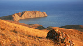Ukraine. Crimea. Koktebel. Coastline of Black sea Stock Images
