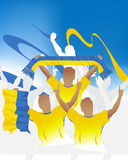 Ukraine crowd. Crowd of soccer people fan and three soccer players with scarf and flag Stock Photography