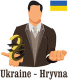 Ukraine currency symbol hryvnia representing money and Flag. Stock Image