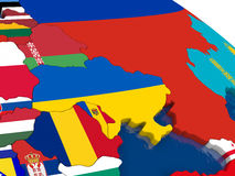 Ukraine on 3D map with flags Stock Image