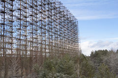 ukraine De uitsluitingsstreek van Tchernobyl - 2016 03 20 Sovjetradarfaciliteit DUGA Stock Afbeelding
