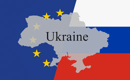 Ukraine diagonally with font black. Power struggle Europe and Russia Royalty Free Stock Photography
