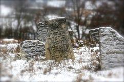11 23 2014 ukraine Ein alter jüdischer Kirchhof Alte Finanzanzeigen mit Aufschriften auf das Jiddisch, das aus der Erde heraus ha Stockbild