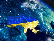 Ukraine with embedded flag from space Royalty Free Stock Image