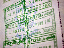 Ukraine entrance tamps in passport Royalty Free Stock Image