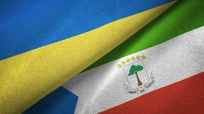 Ukraine and Equatorial Guinea two flags textile cloth, fabric texture. Ukraine and Equatorial Guinea two folded flags together stock illustration