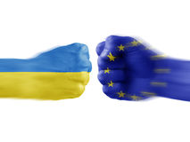 Ukraine x eu. Boxing flag hands Stock Photos