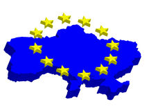Ukraine in EU. Contour map of Ukraine with EU stars Royalty Free Stock Image