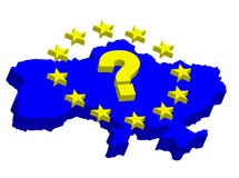 Ukraine in EU. Contour map of Ukraine with EU stars, questionable Royalty Free Stock Image