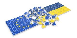 Ukraine Europe. 3d render of Ukraine Europe cooperation puzzle on white background Royalty Free Illustration