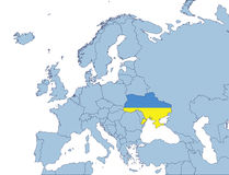 Ukraine on Europe map. In flags color Royalty Free Stock Photo