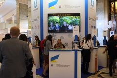 Ukraine exhibition at TT Warsaw 2017 stock photography
