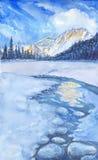 ukraine för dragobratliggandeberg vinter vattenfärg Arkivfoto
