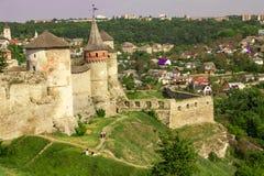 ukraine för town för podilskyi för slottkamianets gammal sikt Arkivfoton