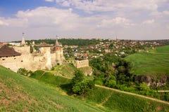 ukraine för town för podilskyi för slottkamianets gammal sikt Arkivfoto