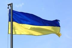 Ukraine fahnenschwenkend auf dem Wind Stockfoto