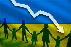 Ukraine flag background of the arrow chart down. Decrease in the number of the country`s rape. Fertility below the measurement. Reducing the flow of refugees royalty free stock photos