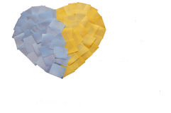 Ukraine flag background of the pieces of tape. Heart of the pieces of tape Ukrainian flag Royalty Free Stock Image