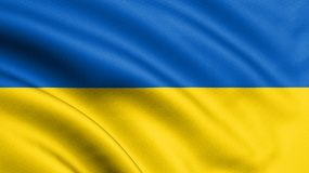 Ukraine flag blowing in the wind. Background texture. 3d rendering, wave. - Illustration royalty free illustration