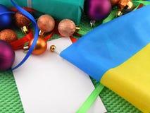 Ukraine flag with christmas decoration, new year Stock Image