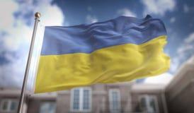 Ukraine Flag 3D Rendering on Blue Sky Building Background Stock Images