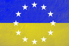 Ukraine flag with EU logo Stock Photo