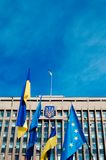 Ukraine flag. European Union amp Ukraine nation europe banner Stock Images