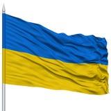 Ukraine Flag on Flagpole Royalty Free Stock Image