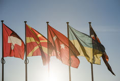 Ukraine flag in front of the Council of Europe Stock Photography