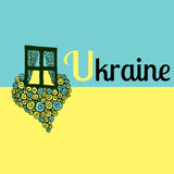 Ukraine Flag Heart Doodle with text. I Love Ukraine Vector Illustration Stock Photography