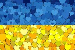 Ukraine Flag made of hearts background. Illustration, Abstract grunge Ukrainian flag vector illustration