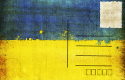 Ukraine flag postcard. Ukraine flag on old postcard ,retro style ,Euro 2012 football Royalty Free Stock Photos