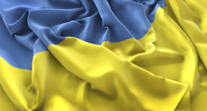 Ukraine Flag Ruffled Beautifully Waving Macro Close-Up Shot. Studio Stock Image